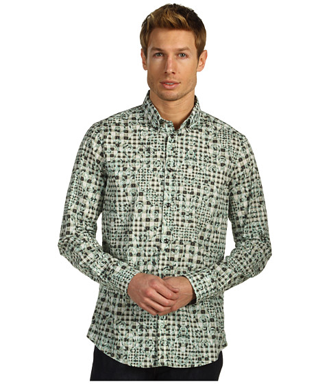 Camasi Just Cavalli - Vichy Puzzle Print Cotton Poplin Button Up - Sage