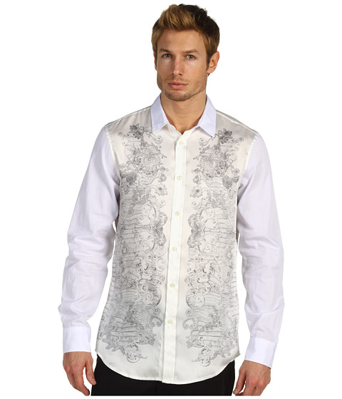 Camasi Just Cavalli - White Baroque Print Button Up - White