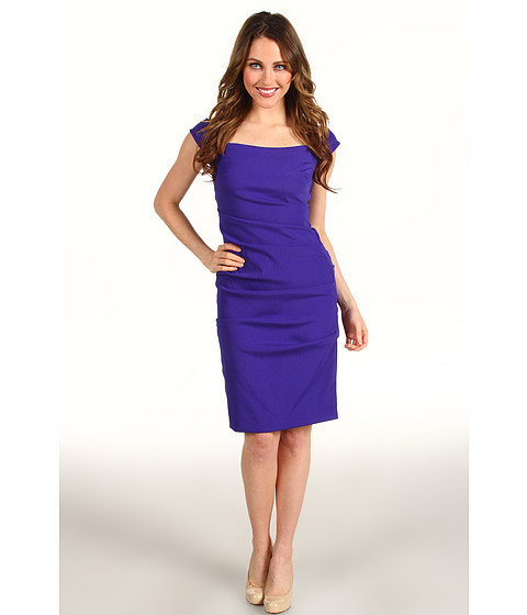Rochii Nicole Miller - Off Shoulder Tucked Satin Crepe Dress - Royal