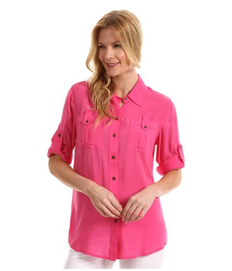 Tricouri Jones New York - Roll Sleeve Shirt w/ Tab Pocket - Azalea Pink