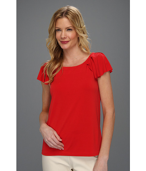 Bluze Anne Klein New York - Cap Flutter Sleeve w/Pleated Detail Top - Red