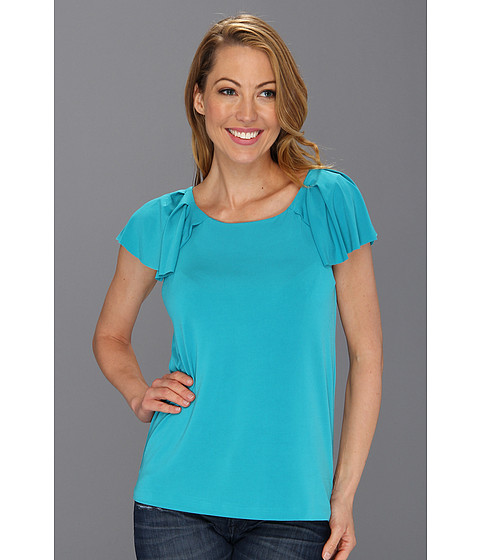 Bluze Anne Klein New York - Cap Flutter Sleeve w/Pleated Detail Top - Turquoise