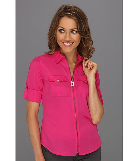Bluze Michael Kors - Petite Dogtag Zip Camp Shirt - Radiant Pink