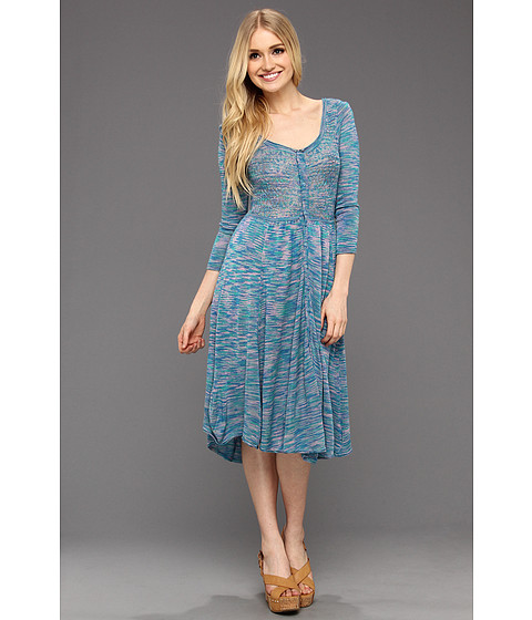 Rochii Free People - Space Dye Henley Dress - Blue