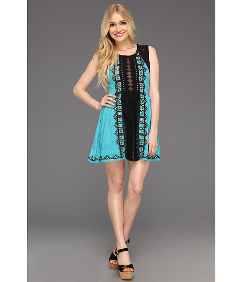 Rochii Free People - Waterlilly Embellished Dress - Turquoise