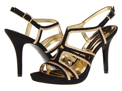 Pantofi Nina - Ruth - Black/Gold Satin