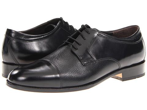 Pantofi Johnston & Murphy - Emmert Cap Toe - Black Calfskin/Deerskin