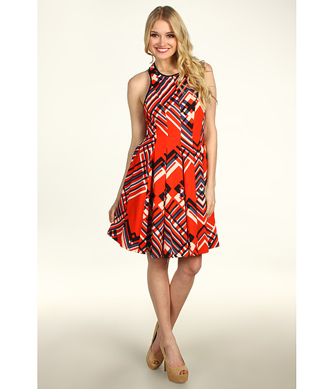 Rochii Jessica Simpson - Halter Dress w/ Full Pleat Skirt - Argyle Poinciana Red