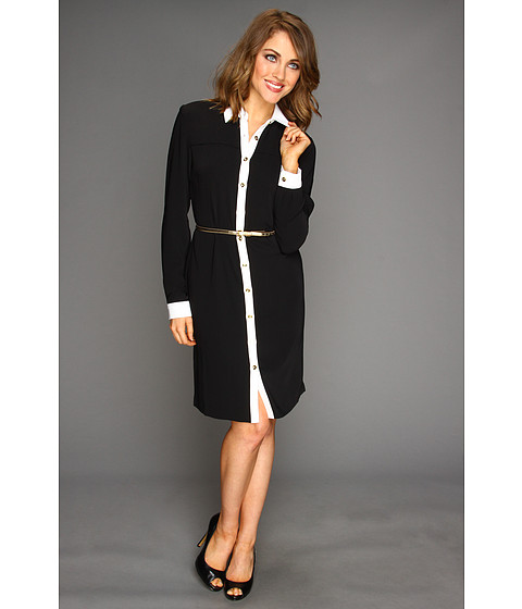Rochii Calvin Klein - Belted Shirtdress - Black/White