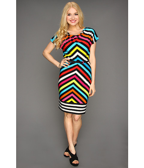 Rochii Calvin Klein - Chevron-Striped Cowl Neck Dress - Black Multi