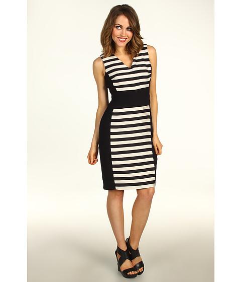Rochii Kenneth Cole - Marcie Striped Sheath Dress - Black/Ivory