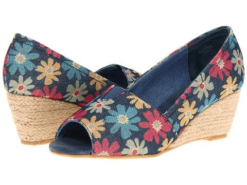Pantofi Fitzwell - Dawn Wedge - Flower Print Denim