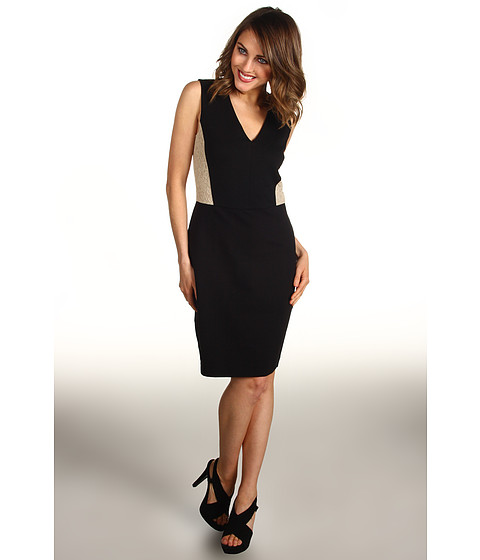 Rochii DKNY - Sleeveless V-Neck Dress w/ Lace - Black