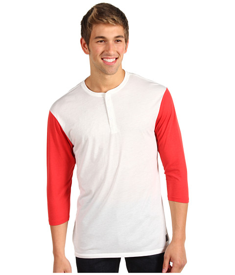 Bluze Nike - Classic Dri-FIT 3/4 Sleeve Henley - Summit White/Red Reef