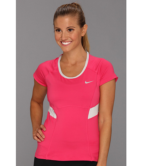 Tricouri Nike - Power S/S Top - Pink Force/Strata Grey/Strata Grey/Matte Silver
