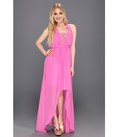 Rochii Jessica Simpson - Halter Blouson Maxi Dress with Asymmetrical High Low Hem - Super Pink