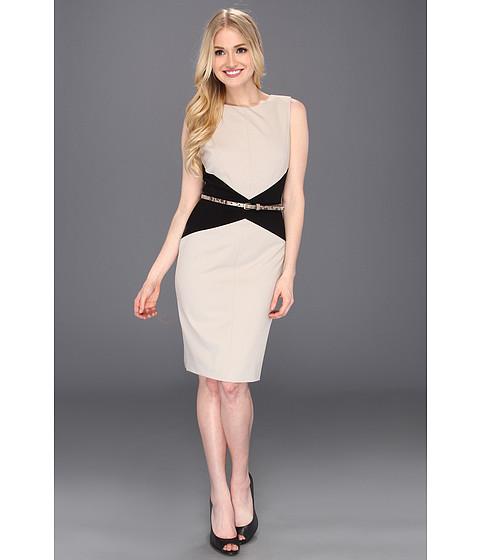 Rochii Calvin Klein - Sleeveless Belted Colorblock Career Sheath - Khaki/Black
