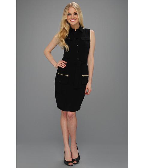 Rochii Calvin Klein - Sleeveless Career Shirt Dress w/ Zipper Pockets - Black