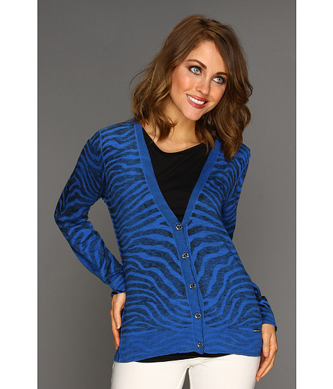 Bluze Michael Kors - Zebra Inside Out V-Neck Cardigan - Urban Blue