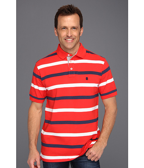 Tricouri IZOD - Short Sleeve Oxford Pique Stripe Polo Shirt - High Risk Red