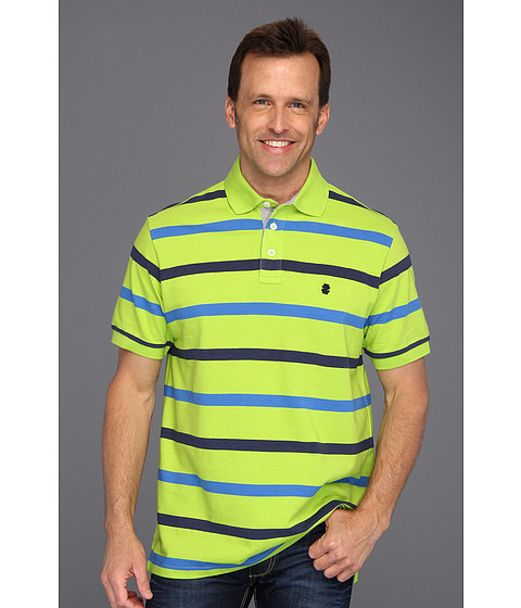 Tricouri IZOD - Short Sleeve Oxford Pique Stripe Polo Shirt - Lime Green