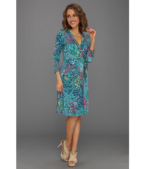 Rochii BCBGMAXAZRIA - Knit Wrap Dress with Multicolors - Bright Emerald Combo