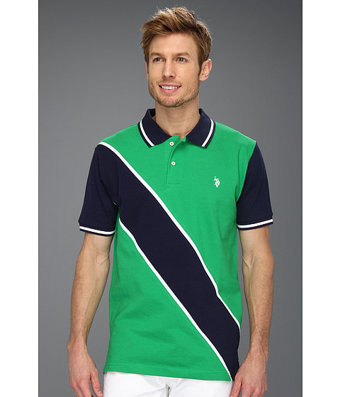Tricouri U.S. Polo Assn - Solid Polo with Contrast Color Piecing - Cactus Flower
