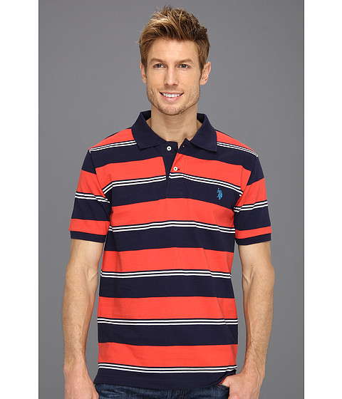 Tricouri U.S. Polo Assn - Yarn Dyed Striped Pique Polo - Classic Navy/Red