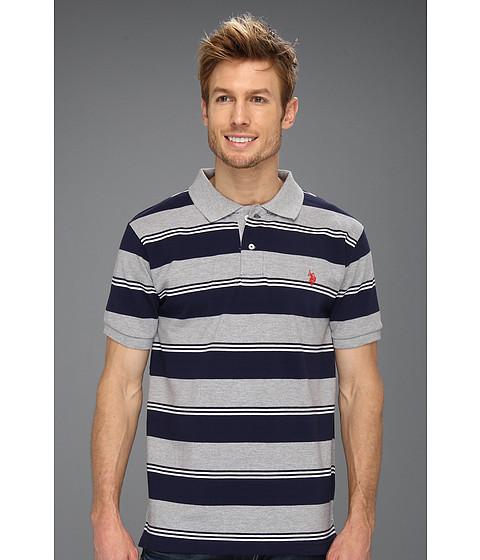 Tricouri U.S. Polo Assn - Yarn Dyed Striped Pique Polo - Heather Grey/White