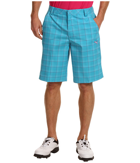 Pantaloni PUMA - Golf Plaid Tech Short \13 - Blue Atoll