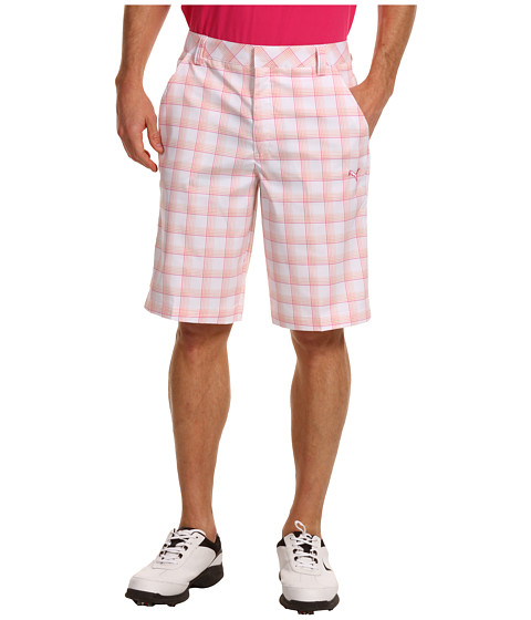 Pantaloni PUMA - Golf Plaid Tech Short \13 - Vibrant Orange/Cabaret/White