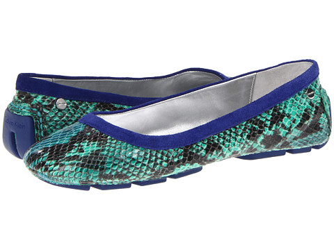 Balerini Calvin Klein - Taylah - Cobalt Blue Snake/Bright Green Suede