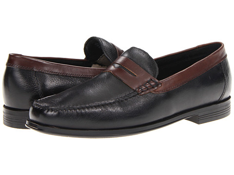 Pantofi Florsheim - Croquet Penny - Black Milled Leather/Brown Smooth Leather
