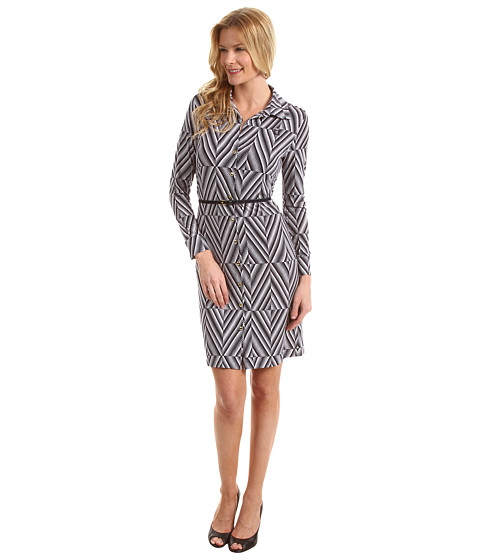 Rochii Anne Klein New York - Diamond Print Belted Dress - New Marine Multi