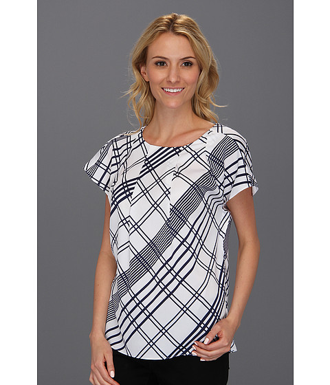Bluze Anne Klein New York - Plaid Print S/S Blouse - White Multi