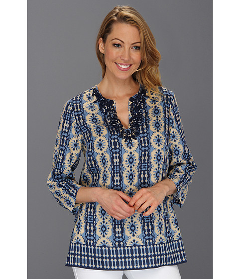 Tricouri Jones New York - 3/4 Sleeve Embellished Tunic Top - Pebble/Dark Blue