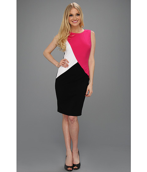 Rochii Calvin Klein - Sleeveless Colorblock Sheath - Electric Pink/White/Black