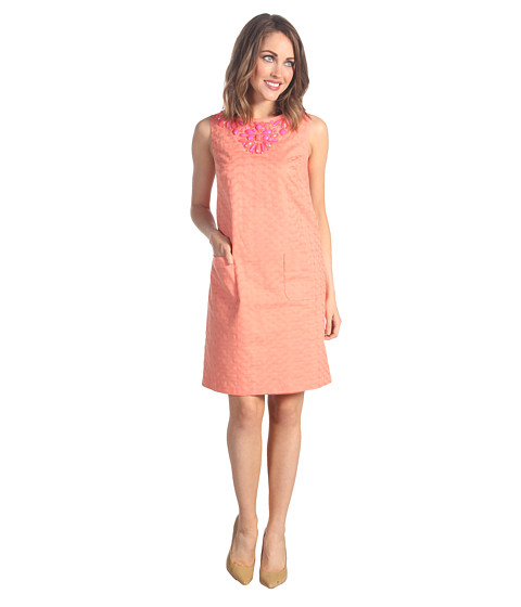 Rochii elegante: Rochie Donna Morgan - Cambrie - Embellished Cotton Jacquard Dress - Coral Rose