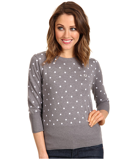Pulovere Fred Perry - Crew Neck Polka Dot Sweater - Pavement Marl