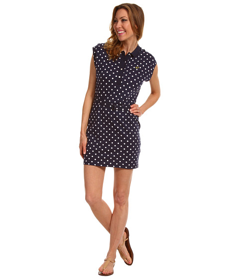 Rochii elegante: Rochie Fred Perry - Cap Sleeve Polka Dot Dress - Carbon Blue