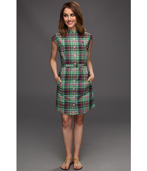 Rochii elegante: Rochie Fred Perry - Grandad Collar Madras Shirtdress - Shamrock