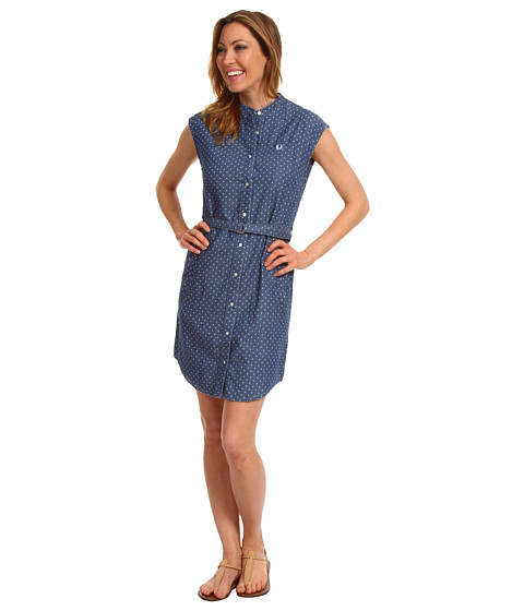 Rochii elegante: Rochie Fred Perry - Grandad Collar Polka Dot Shirtdress - Carbon Blue