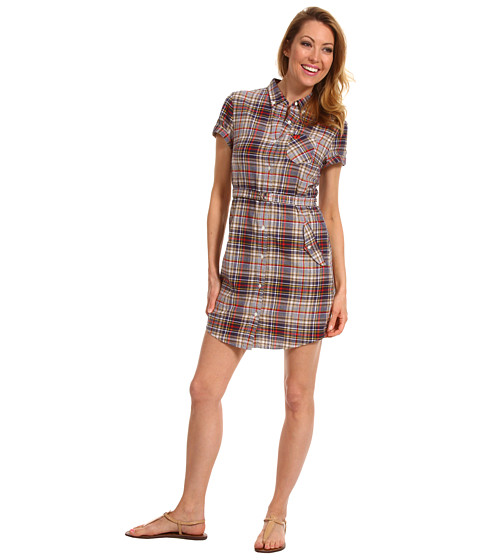 Rochii elegante: Rochie Fred Perry - Short Sleeve Madras Shirtdress - Sandstorm