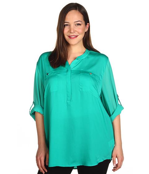 Bluze DKNY - Plus Size Long Roll Sleeve Blouse - Verdant Green