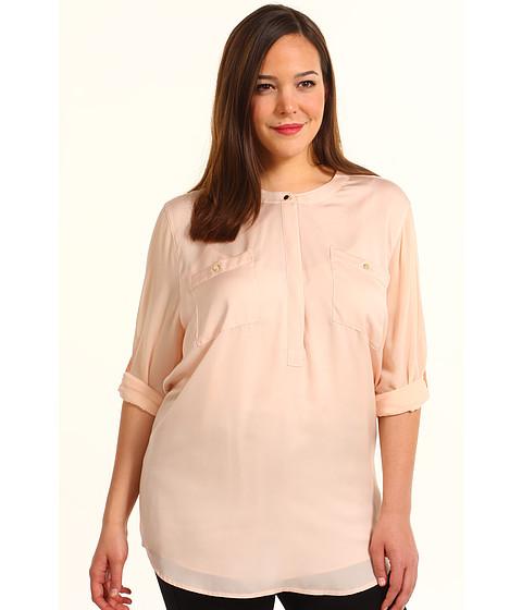 Bluze DKNY - Plus Size Long Roll Sleeve Blouse - Powder