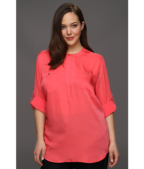 Bluze DKNY - Plus Size Long Roll Sleeve Blouse - Bright Bloom
