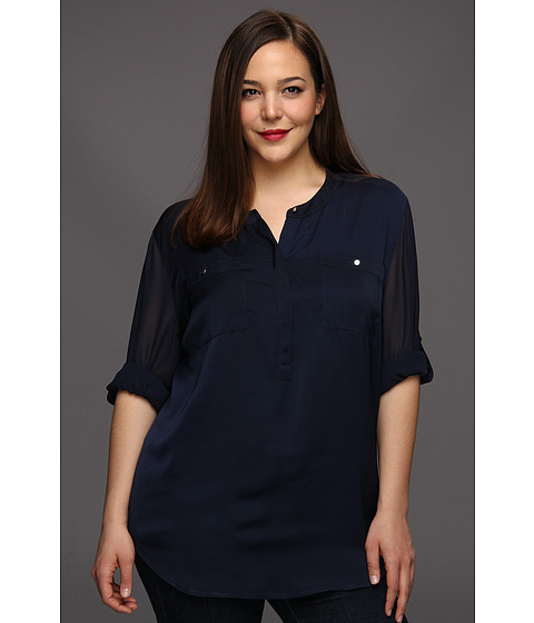 Bluze DKNY - Plus Size Long Roll Sleeve Blouse - Spring Navy