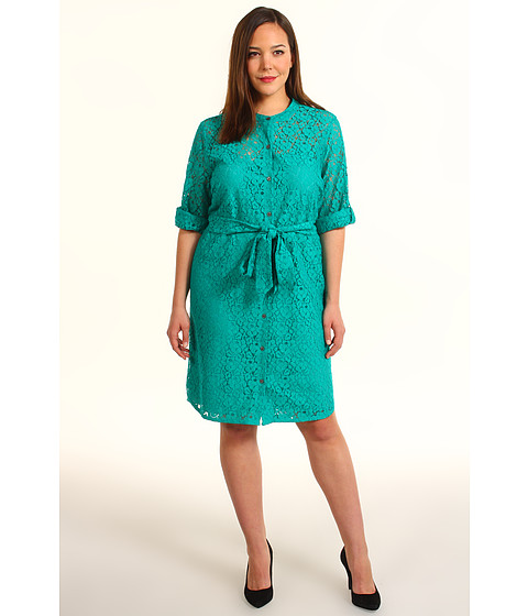 Rochii elegante: Rochie DKNY - Plus Size 3/4 Sleeve Button Thru Dress - Verdant Green