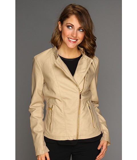 Sacouri Calvin Klein - Faux Leather Moto Jacket - Bisque