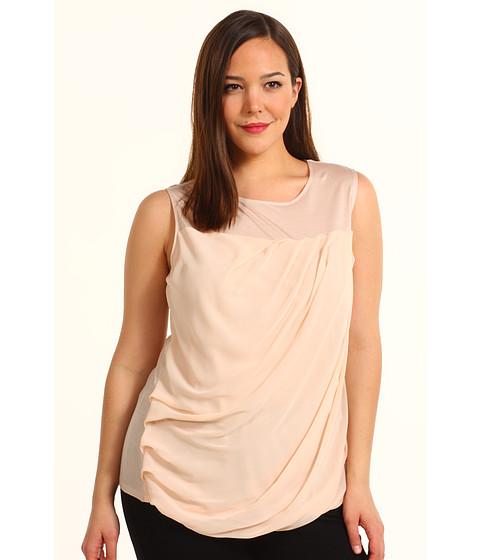 Tricouri DKNY - Plus Size Sleeveless Top w/ Chiffon - Powder